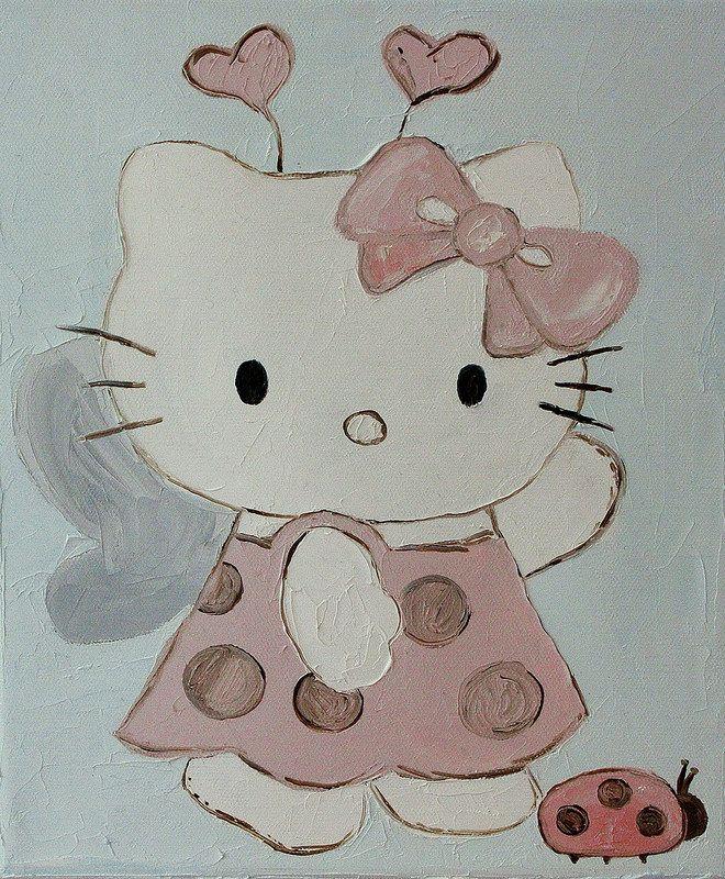 """hello-kitty-oil-painting (Хелоу китти, картина маслом) """"Hello kitty with ladybird"""" (20*30 oil/canvas, 2013) """"Китти с божьей коровкой"""" 20*30, холст/масло, 2013г"""