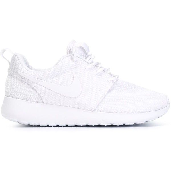 Nike Roshe 1 Sneakers ($89) ❤ liked on Polyvore featuring shoes, sneakers, chaussures, nike, sapatos, white, lacing sneakers, rubber sole shoes, flat shoes and white lace up shoes