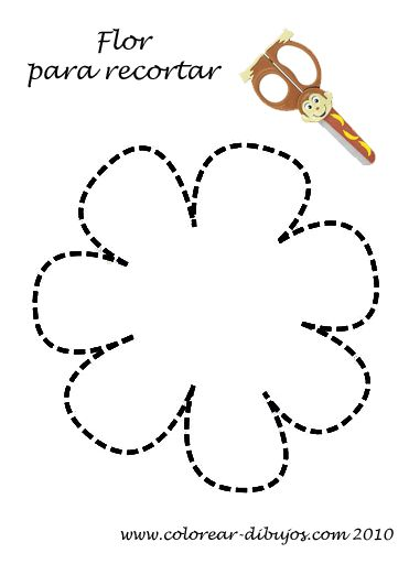 Aprender a recortar; lámina infantil con forma sencilla de flor para imprimir y recortar