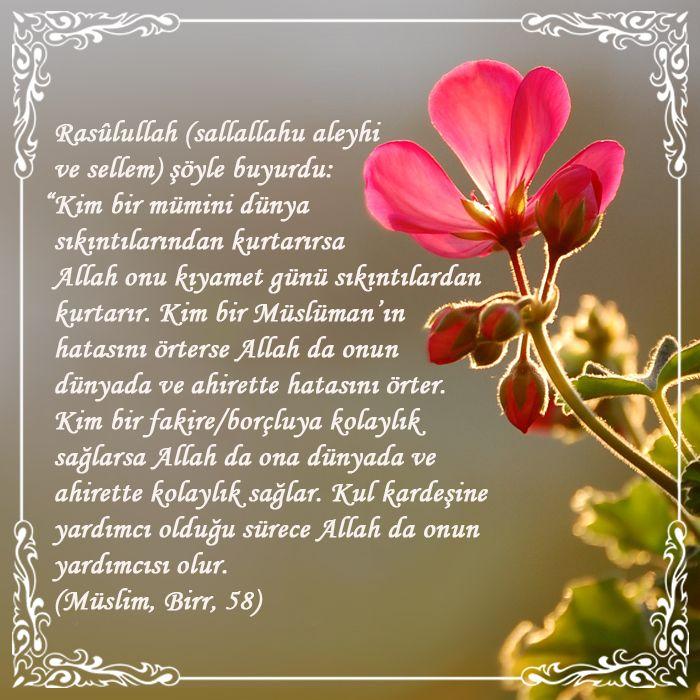 """Hayırlı Ramazanlar... Rasûlullah (sallallahu aleyhi ve sellem) şöyle buyurdu: """"Kim bir mümini dünya sıkıntılarından kurtarırsa Allah onu kıyamet günü sıkıntılardan kurtarır. Kim bir Müslüman'ın hatasını örterse Allah da onun dünyada ve ahirette hatasını örter. Kim bir fakire/borçluya kolaylık sağlarsa Allah da ona dünyada ve ahirette kolaylık sağlar. Kul kardeşine yardımcı olduğu sürece Allah da onun yardımcısı olur. (Müslim, Birr, 58) #hadis #ramazan #yagmurdergi"""