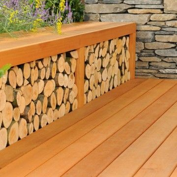 Western Red Cedar Decking what a great idea for storing firewood!