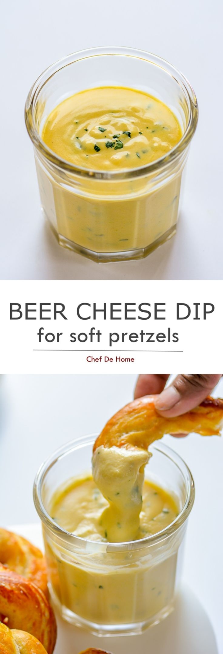 Spicy Beer Cheese Dipping Sauce to serve with soft homemade pretzels | chefdehome.com