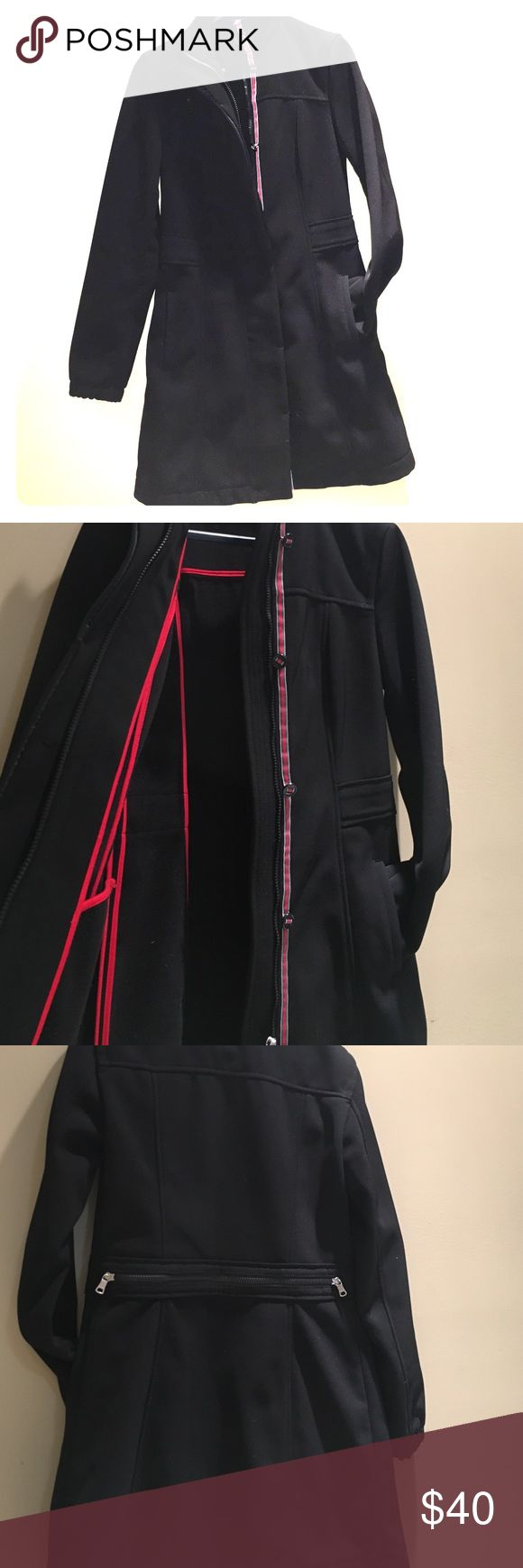Armani Exchange Coat Black knee length coat. Red grey and white details trip with buttons along zipper. Zipper detail on back. Inside the jacket red lines run along the seams for added color, perfect wow factor when you take off the coat! A/X Armani Exchange Jackets & Coats