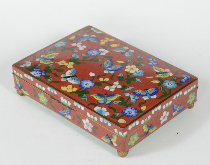 Antique Chinese Cloisonne Box Butterflies & Flowers Red Ground | eBay