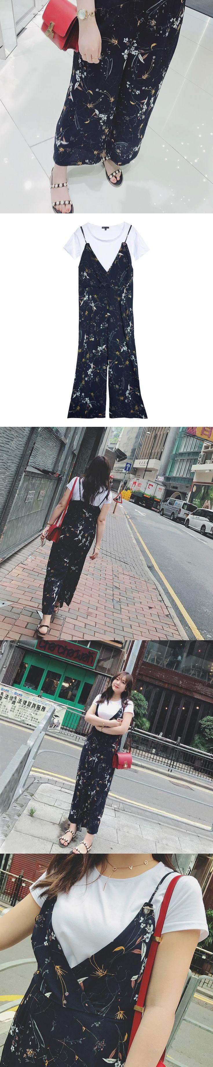 New plus size clothing suit woman office lady cotton T-shirt+floral chiffon ankle length pants jumpsuits for 50-100kg femme