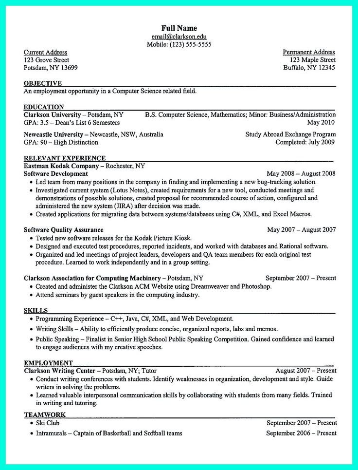 12 best cvs images on Pinterest Resume templates, Resume tips - computer engineering resume sample