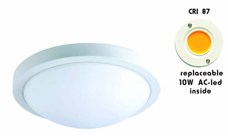 Plafondlamp LED rond glas wit/geborsteld staal 10W 230mm