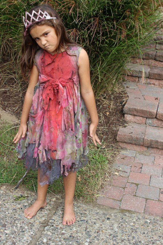 Zombie Princess Dress and Tiara Halloween Costume Girls by kmkc78, $60.00
