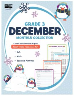 The December Monthly Printable Collection for third grade is aligned to current state standards and saves valuable prep time for centers and independent work.