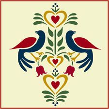 Folk Art Birds 2 Stencil- Distlefink - Fraktur- The Artful Stencil