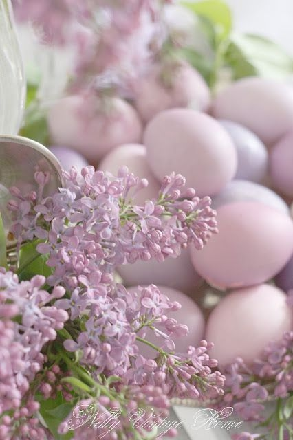 Spring Equinox:  Lilacs and colored eggs for the #Spring #Equinox.