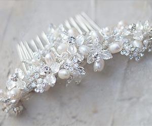 Freshwater Pearl Swarovski Crystal and Rhinestone Hair Comb ANS-A7165 $118.00