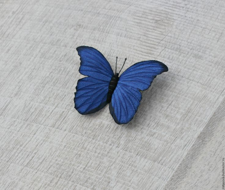 """Купить Брошь """"Морфо Дидиус Синий"""" - синий, цветы из кожи, кожаные украшения, украшения из кожи"""