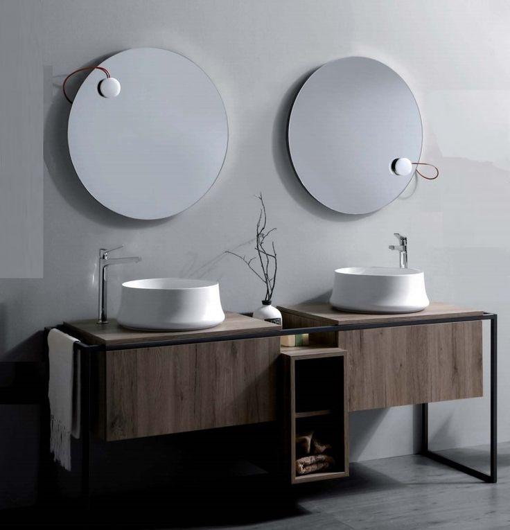 Une belle composition, avec les vasques Sharp, les meubles Frame et les miroirs avec éclairage sur pastille magnétique déplaçable! #simas #frame #sharp