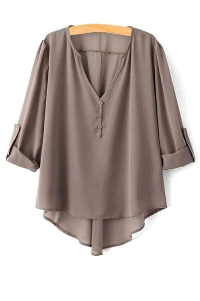High Low Hem Long Sleeve Solid Color Blouse