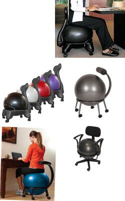 The balance ball chair provides core strengthening, comfort and ergonomic back assistance.