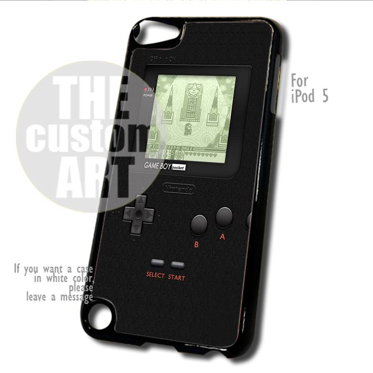 Nintendo game Boy Pocket Black case for iPod 5 | TheCustomArt - Accessories on Bonanza
