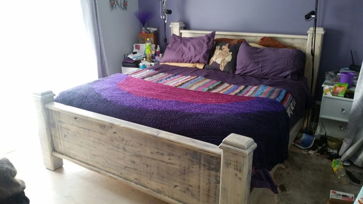 Bed sanded back and painted with liming floor finish which has a varnish incorporated