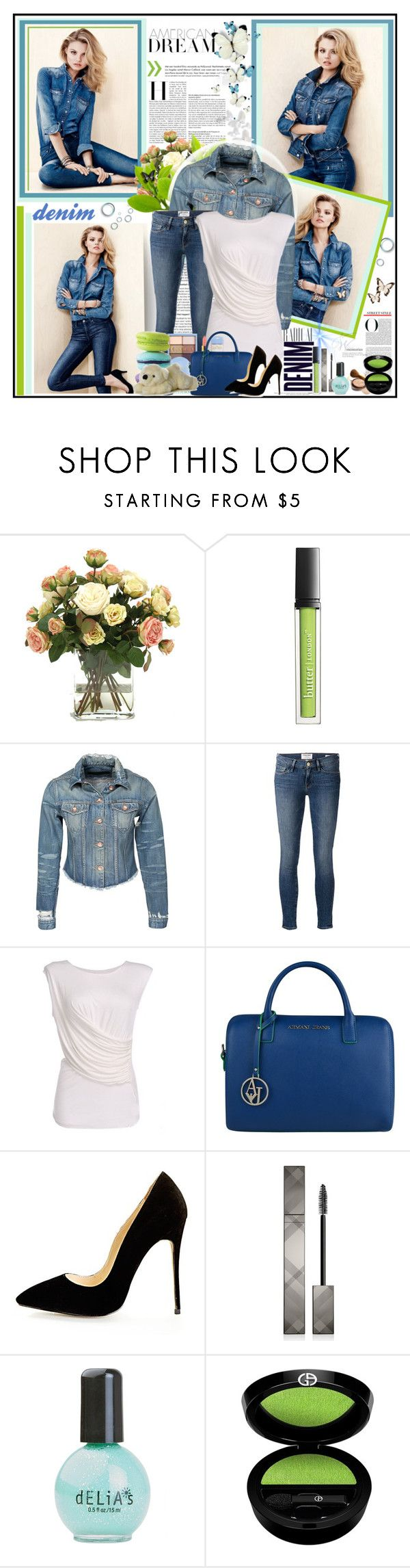 """""""Denim"""" by goharkhanoyan ❤ liked on Polyvore featuring Alima, H&M, Distinctive Designs, Butter London, Tiger of Sweden, Frame Denim, Armani Jeans, CO, Burberry and Giorgio Armani"""