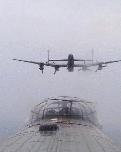 Beautiful photo with the arrow side far British bomber Avro Lancaster