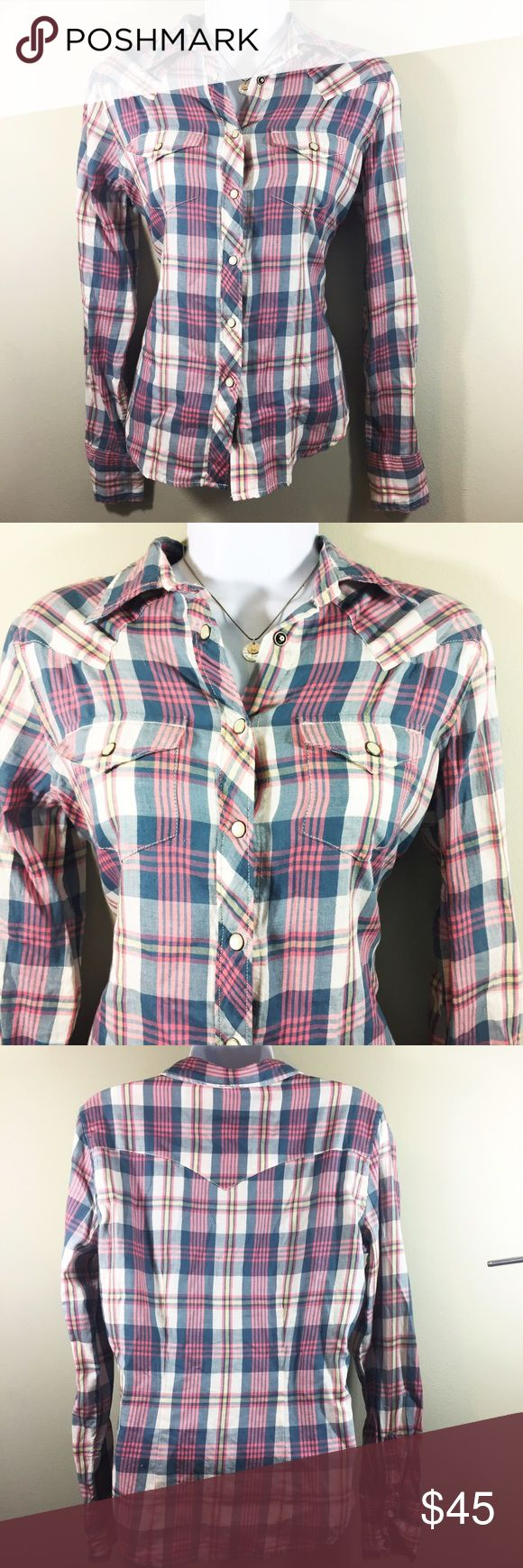 Ralph Lauren Denim and Supply Pearl Snap Plaid Ralph Lauren Denim and Supply RL Cowgirl. Plaid Button up. Pearl snaps. Denim & Supply Ralph Lauren Tops Button Down Shirts