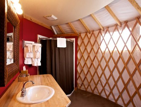 Yurt bathroom for the main one yearning for a yurt for Yurt bathroom designs