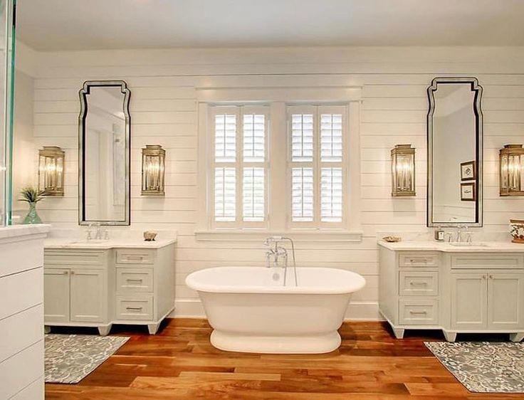 "751 Likes, 6 Comments - Traditional Home (@traditionalhome) on Instagram: ""Dreaming of master bathroom ideas for our next home.  @krystine_edwards sharing a master bathroom…"""