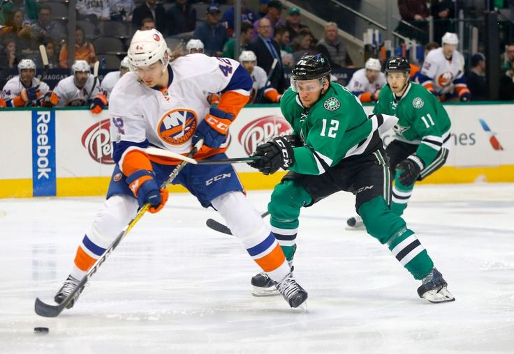 Islanders vs. Stars:  March 2, 2017  -  The Islanders beat the Dallas Stars, 5-4, on Thursday night at American Airlines Center in Dallas:  By NEWSDAY.COM  -     Dallas Stars center Radek Faksa (12) chases down New York Islanders defenseman Scott Mayfield (42) during the first period on Thursday, March 2, 2017 at the American Airlines Center in Dallas, Texas.