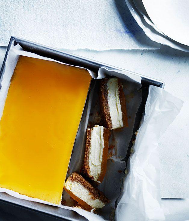 Lemon cheesecake slice with citrus jelly - http://www.gourmettraveller.com.au/recipes/recipe-search/feature-recipe/2015/5/lemon-cheesecake-slice-with-citrus-jelly/?utm_campaign=coschedule&utm_source=pinterest&utm_medium=Marie%20Asselin