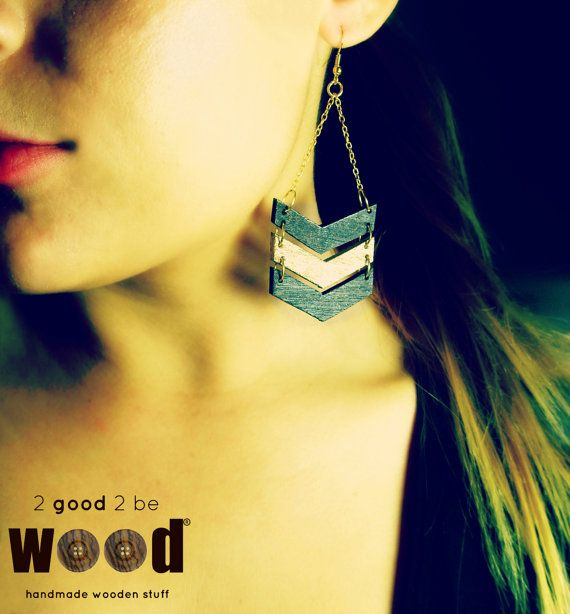 Handmade & Handpainted Geometric Wooden Earrings