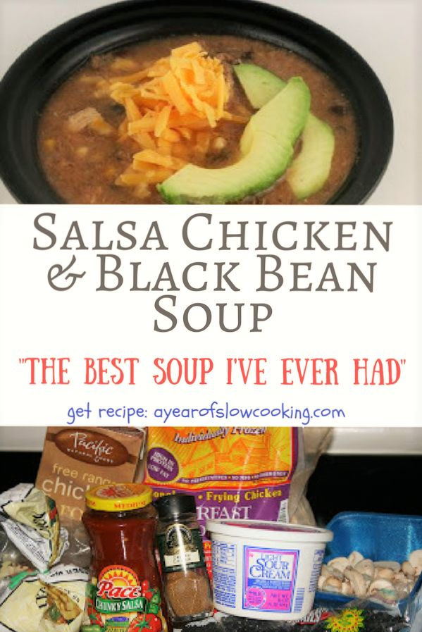 One of the most flavorful and hearty soups I've ever eaten in my life. The spices and seasoning is perfect -- we make this so often in our house! The base is made with chicken broth and salsa. This way you don't  need to chop up any onion, garlic, or tomato early in the morning!