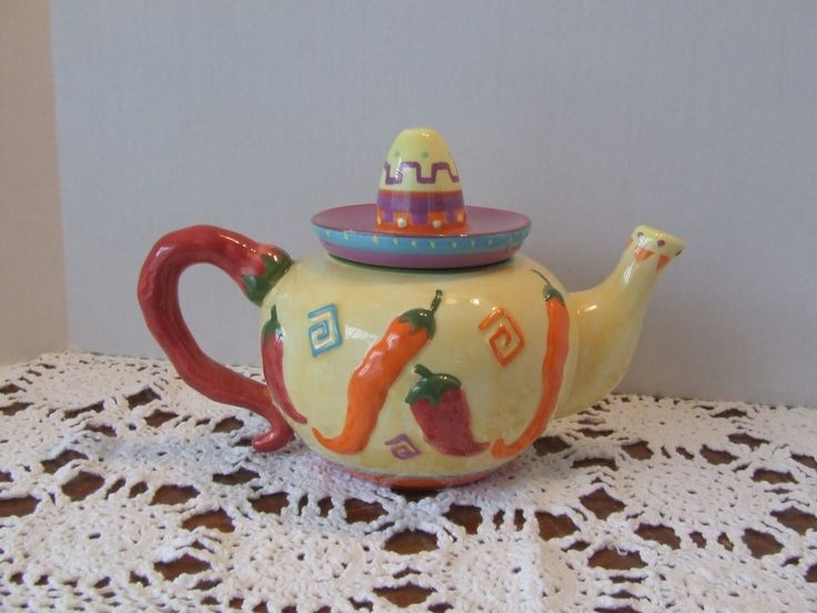 Unique Chili Pepper Teapot, Sombrero Hat Teapot, Chili Pepper Decor, Fiesta Kitchen Decor, Mexican Style Teapot, Southwestern Teapot, Teapot by BeautyMeetsTheEye on Etsy