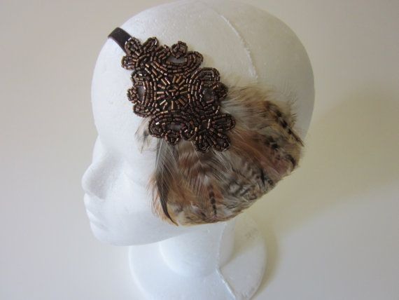 Bronze feather Headband beaded headpiece copper by GothamCityStyle