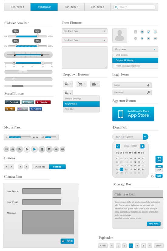 Free GUI / UI / UX PSD kits and web elements for download