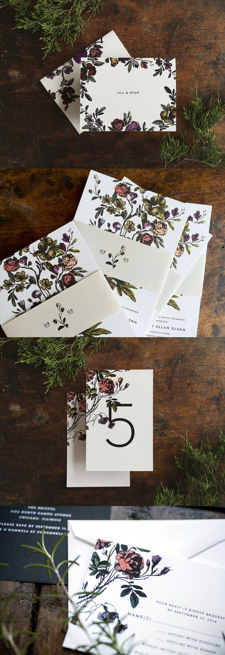 This suite of wedding invitations uses modern typography and gives a playful nod to vintage botanical illustration.  The colors can be customized to your tastes, and you can also choose between foil, letterpress, or flat printing.