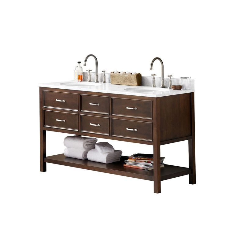 Ronbow Newcastle Walnut Finish Wood 61-inch Double Bathroom Vanity Set with Sink and Mirror