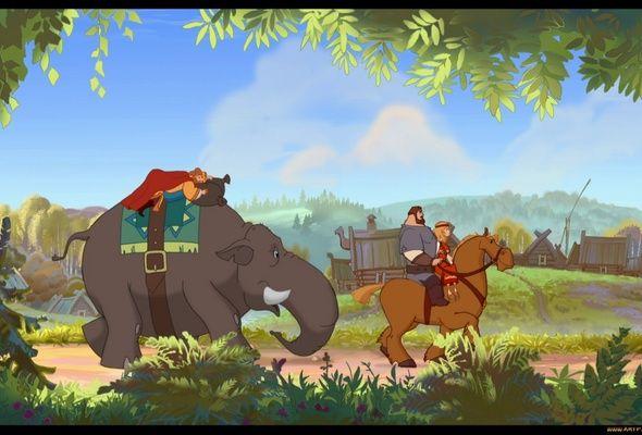 Добрыня Никитич и Змей Горыныч, конь, слон, богатырь