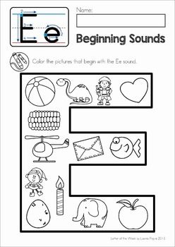 Phonics Letter of the Week E. Beginning sounds Color It! page.