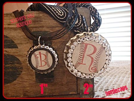 "Bottle Cap Co | Bottle Cap Craft Creative Ideas.  I like the 1"" ribbon vintage baseball necklace.  Add your kids' #/school."