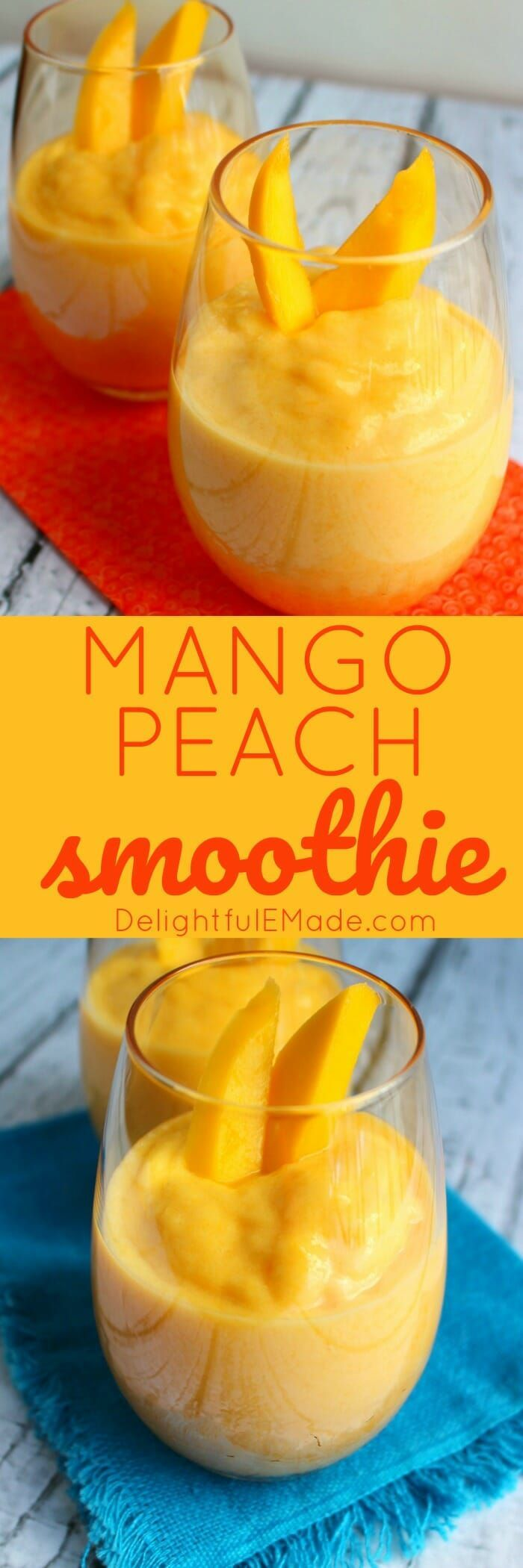 If you love peaches and mangoes then this Mango Peach Smoothie recipe will be right up your alley! A fantastic healthy snack option or a quick on-the-go breakfast idea, it's perfect for when you're trying to make healthier choices! #Breakfast #Delightfule