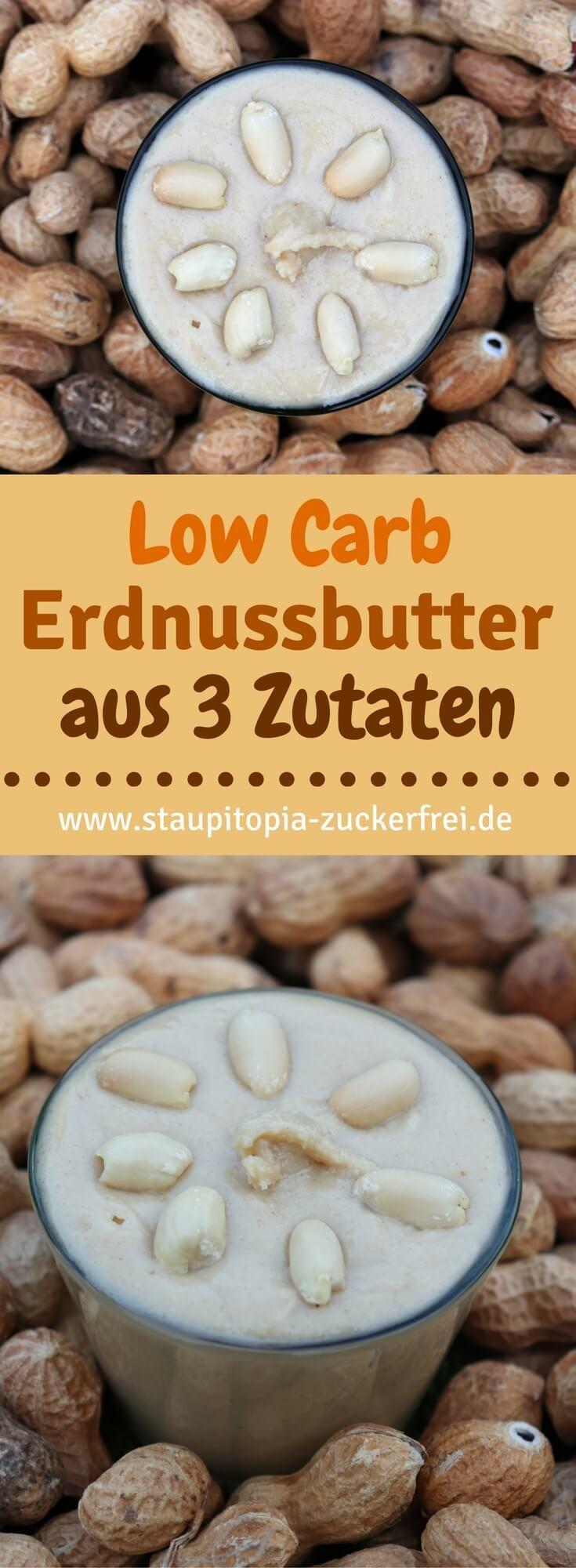 Erdnussbutter ohne Zucker selber machen? Nichts leichter als das! Mit diesem Rezept hast du innerhalb von kürzester Zeit einen köstlichen Low Carb Brotaufstrich selber gemacht, der natürlich zum Frühstück am allerbesten schmeckt. Und das Beste: Für die zuckerfreie Erdnussbutter benötigst du nicht mehr als 2 Zutaten (naja und eine Prise Salz).  #lowcarb #erdnussbutter #ohnezucker #frühstück #staupitopia