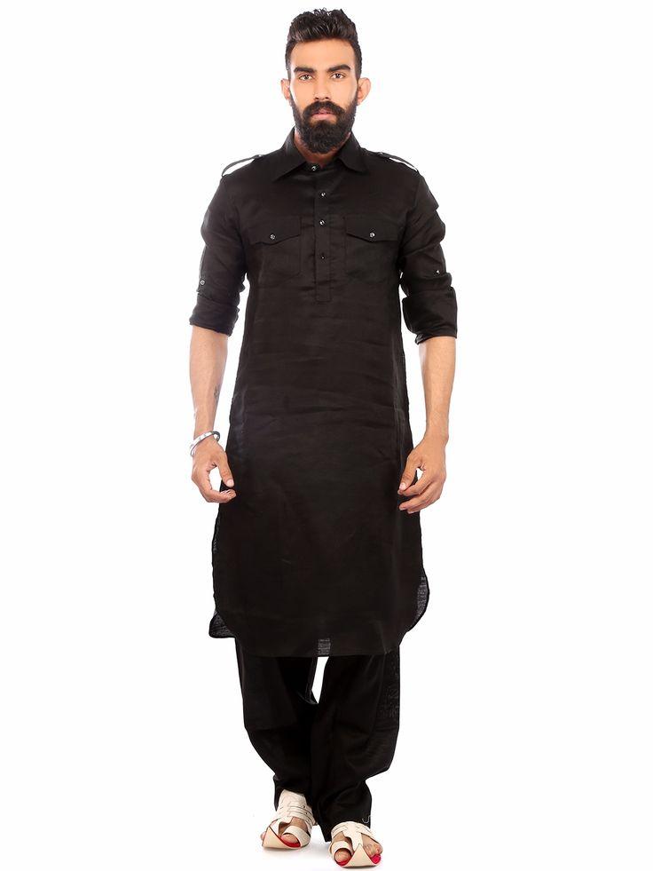 Black Linen Festive Wear Solid Pathani Suit