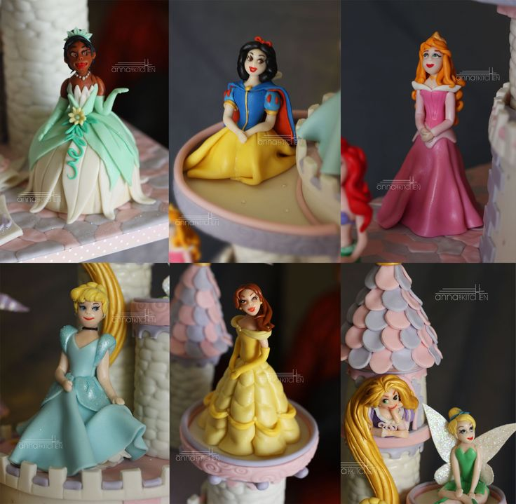 Disney Princess Castle  - Present are Rapunzel of the luscious hair, fairest of them all Snow White, Cinderella the belle of the ball, tiny Tinkerbell, Mulan the warrior princess, Jasmine the dusky beauty, Belle who conquered the Beast, Tiana the frog princess, Sleeping beauty who woke up for the occasion and Ariel the mermaid.