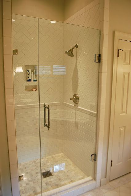 white subway tile love the mix of layout of tiles bathroom shower