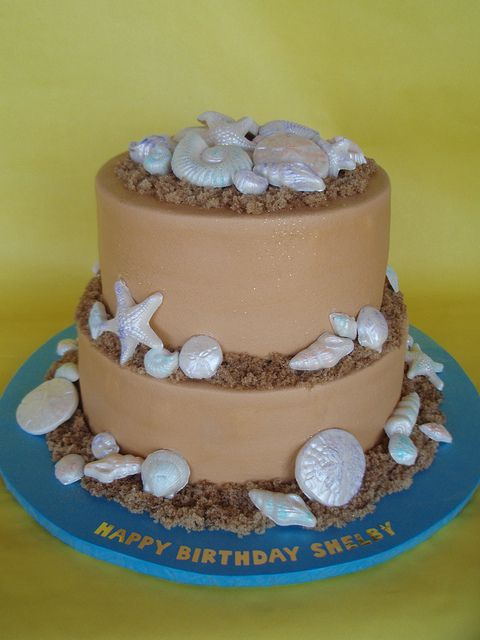 Beach Themed Birthday Cake by CakesUniqueByAmy.com, via Flickr