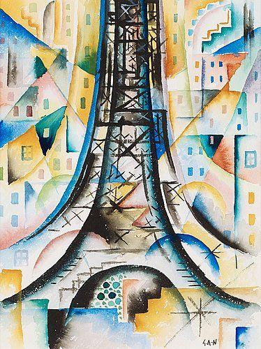 GÖSTA ADRIAN-NILSSON, The Eiffel Tower. Signed G.A-N. Executed circa 1919. Watercolour 29.5 x 22.5.... - Modern Autumn Sale, Stockholm 575 –...