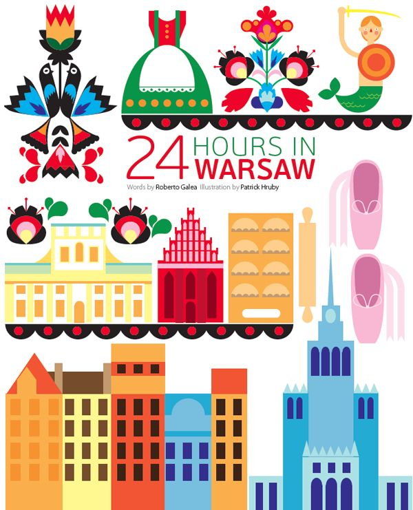 Patrick Hruby created the lovely 24 hours in Warsaw illustration which features some of the cities iconic landmarks and Polish paper cutting art wycinanka.
