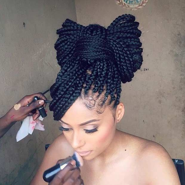 Box Braids Bow Updo
