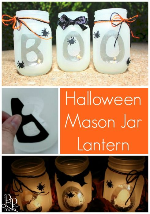 Easy Halloween Decoration Idea - DIY Mason Jar Lantern! Super easy to make and the perfect decoration for your Halloween Party. Click over to get the instructions to make this yourself!