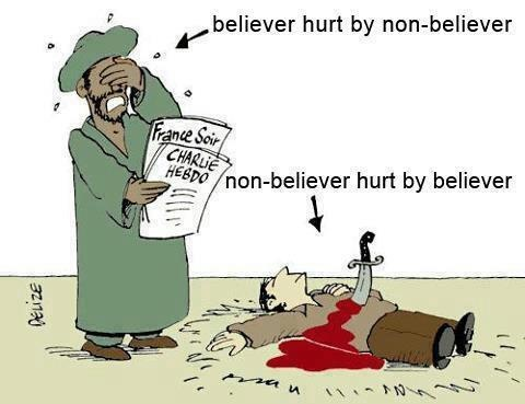 Believer hurt by non-believer. Non-believer hurt by believer. (Olga: Very clear, visual  message. The same could be said for believer hurt by other faith/denomination believer).